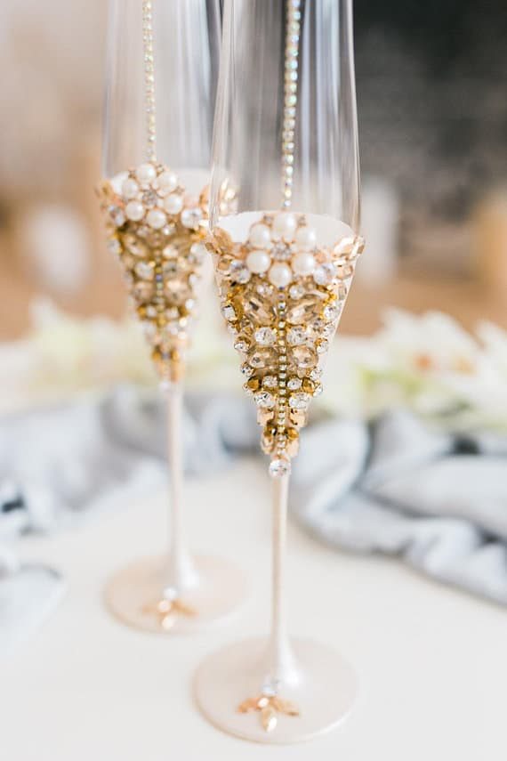 pearl embellished wedding toasting flutes