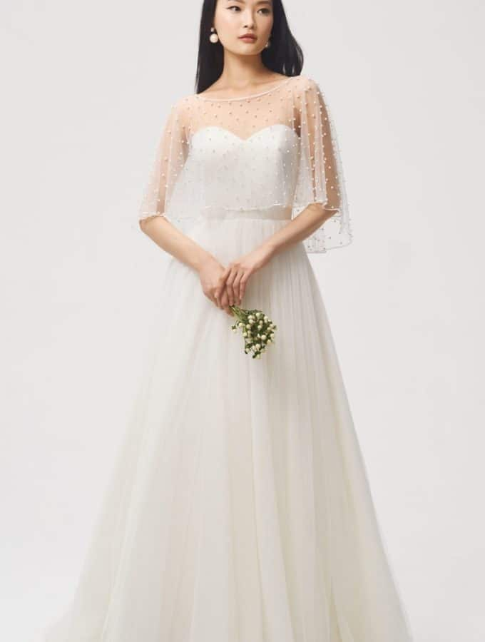 pearl embellished wedding cape by jenny yoo