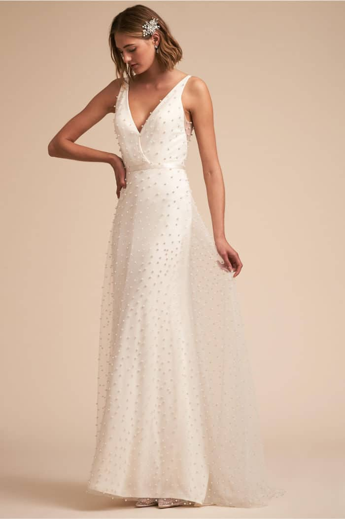 pearl wedding dress bhldn