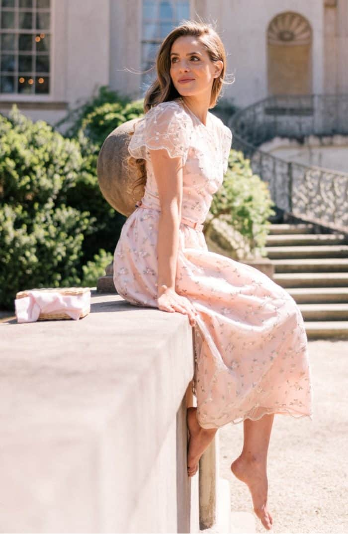 Blush pink lace and floral pretty dress with short sleeves | Gal Meets Glam Collection