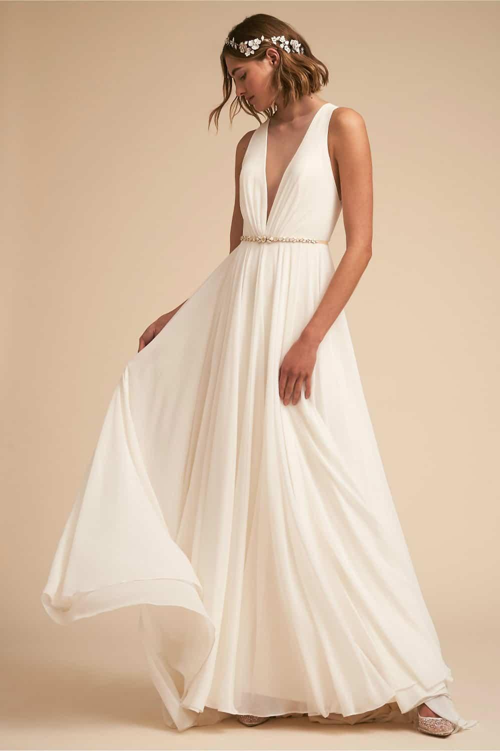 Plunge V Neck Wedding Dress With Sheer Back Dress For