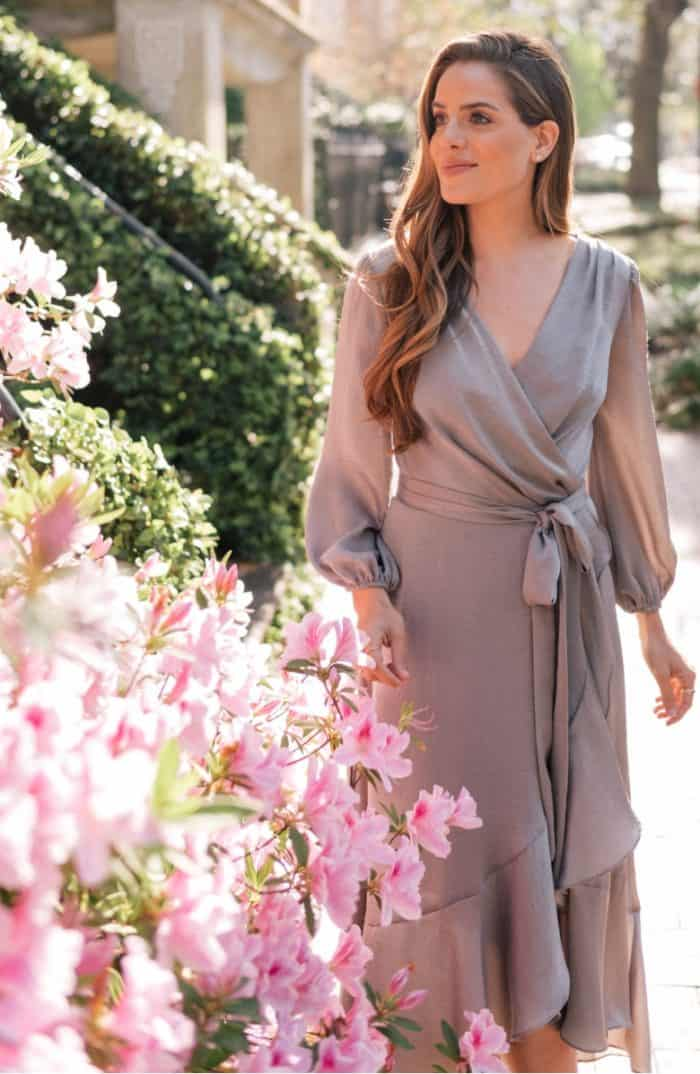 Gal Meets Glam sage green long sleeve wrap dress