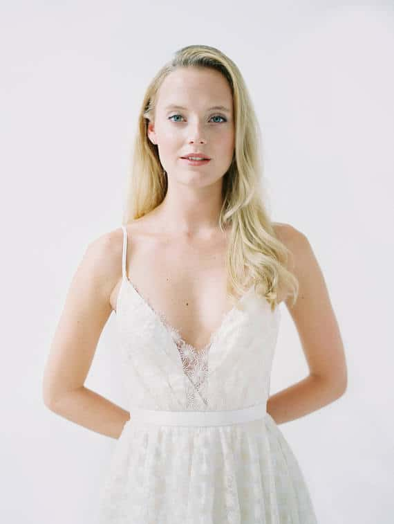 Soft Champagne V Neck Wedding Dress with Spaghetti Straps, 'Samantha' by Truvelle