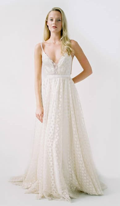 Champagne sparkling wedding dress with spaghetti straps