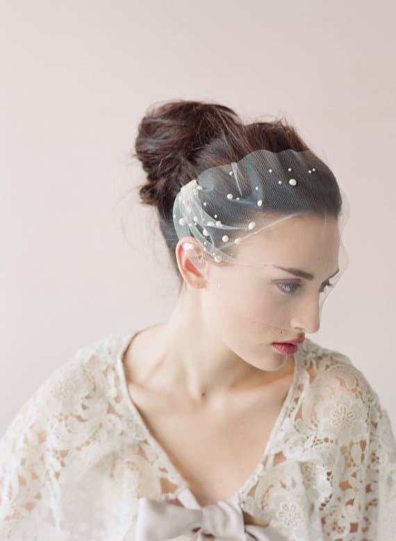 twigs and honey pearl blusher veil