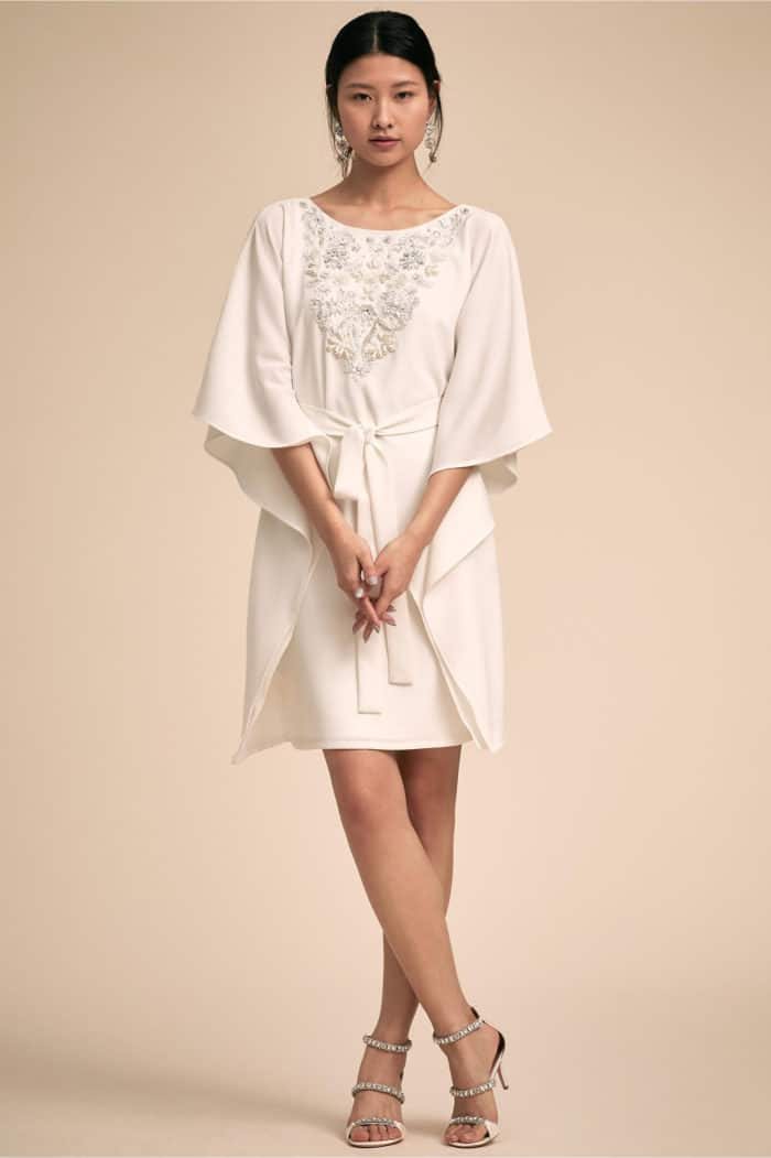 embellished kimono short rehearsal dinner dress to bride to be
