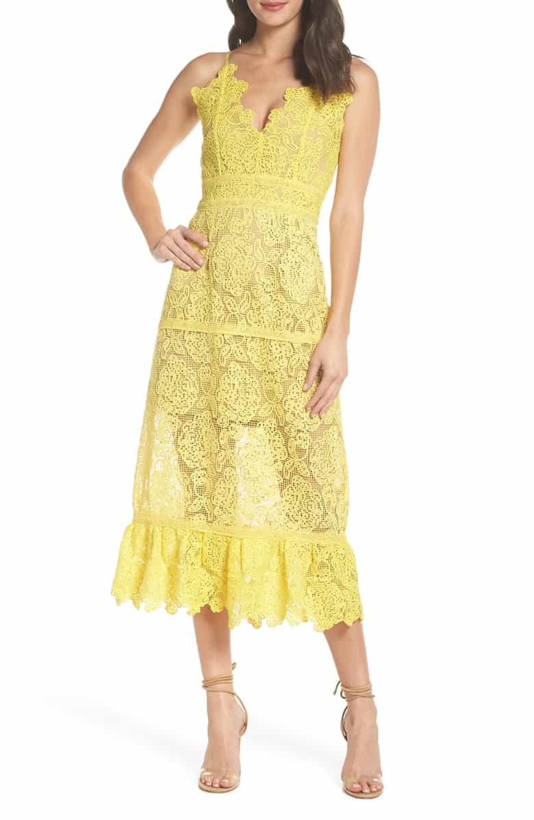 V Neck Yellow Lace Midi Dress for Wedding Guest