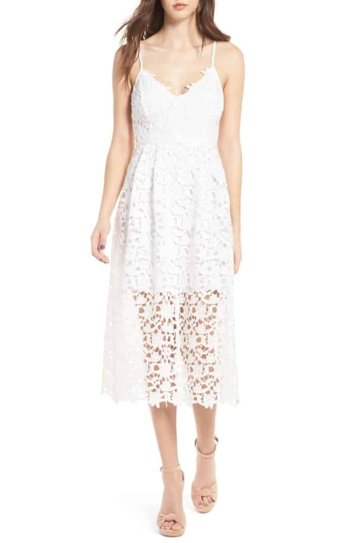white lace midi dress under 100 for wedding rehearsal