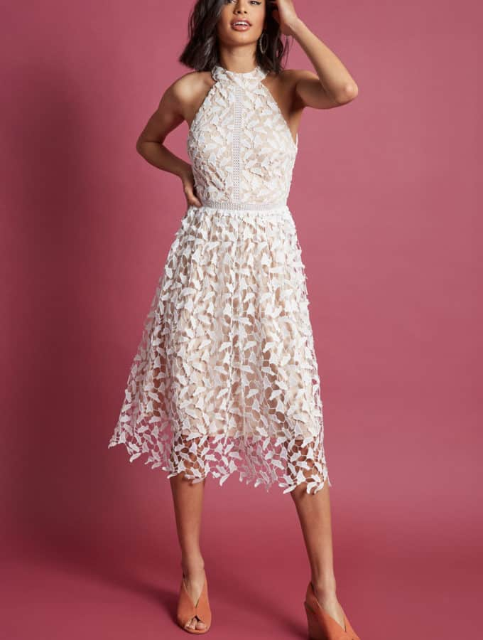 white lace midi dress for rehearsal dinner