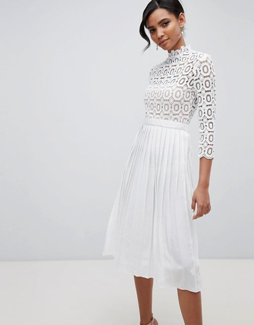 lace top dress with long sleeves for rehearsal dinner