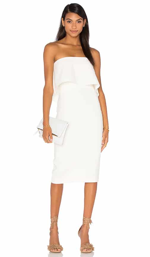 white strapless driggs dress