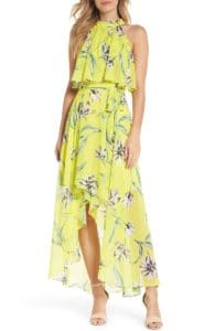 yellow floral print halter maxi dress for wedding guest