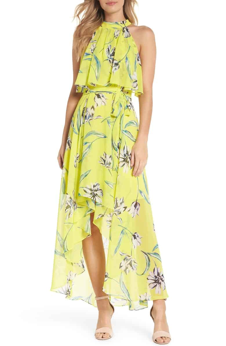 Yellow Floral Print Halter Maxi Dress with High Low Hem