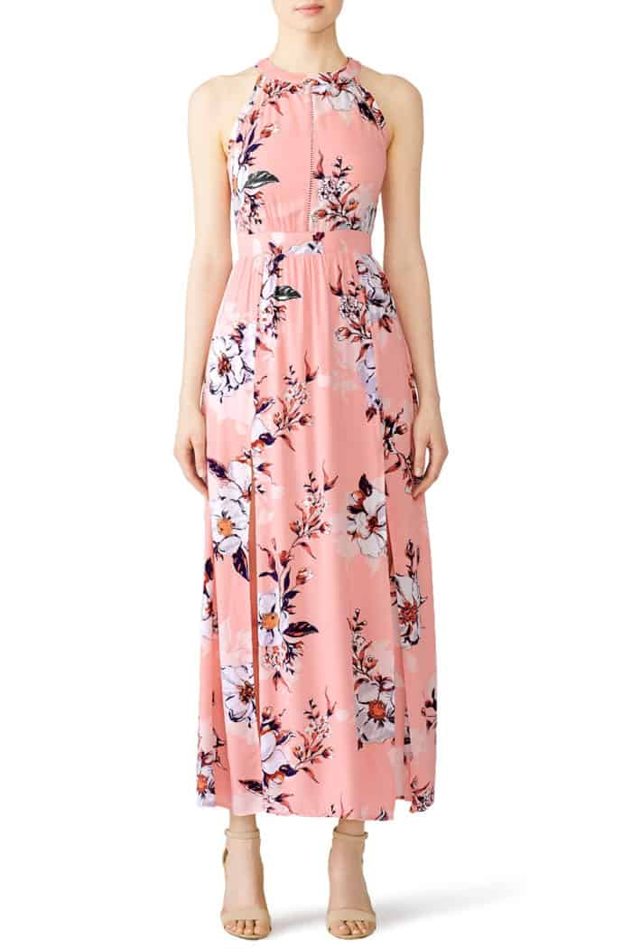 Pink floral print maxi dress to rent