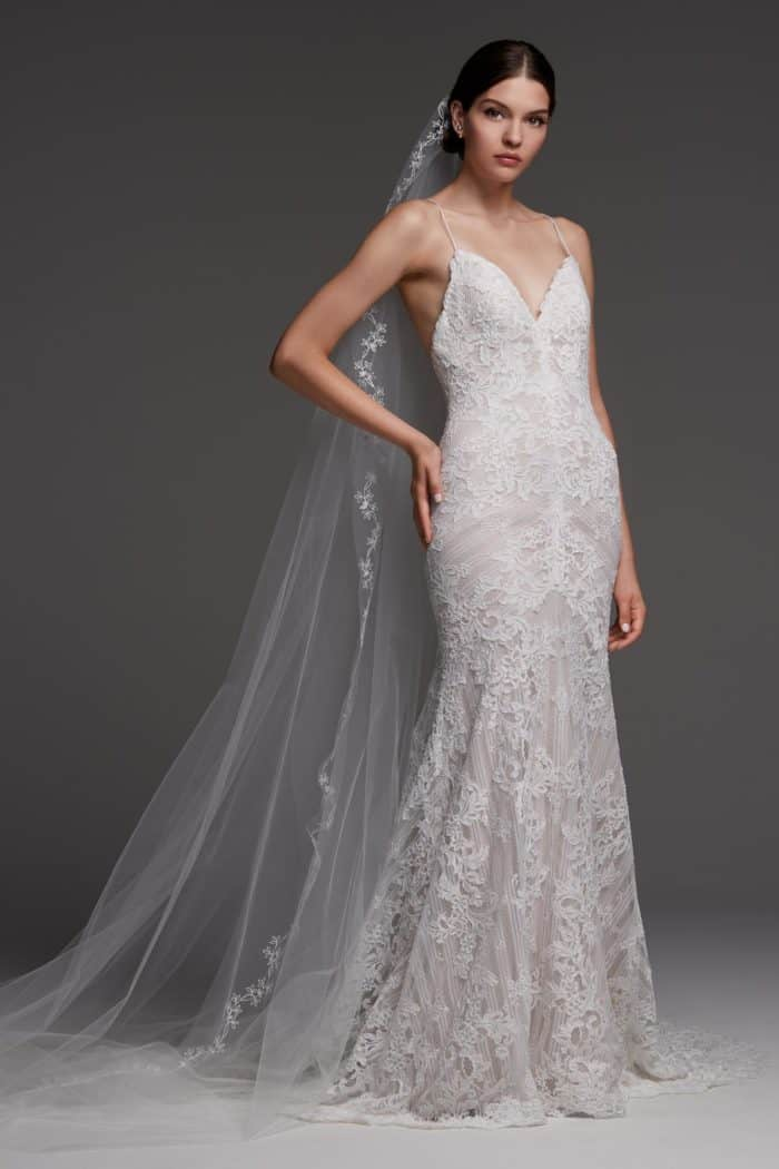 Anjou watters spaghetti strap lace wedding gown