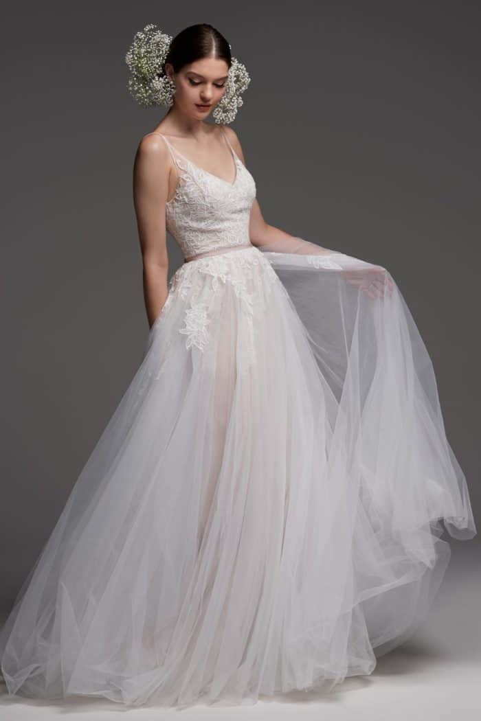 vignon wedding dress watters tulle spaghetti strap bridal gown