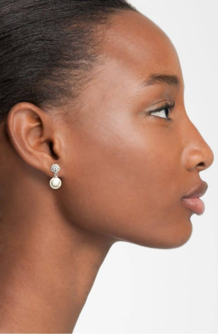 delicate pearl earrings for a wedding