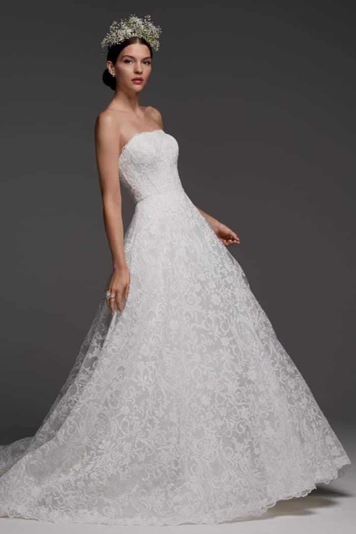 Grimaldi watters strapless lace wedding dress spring 2018