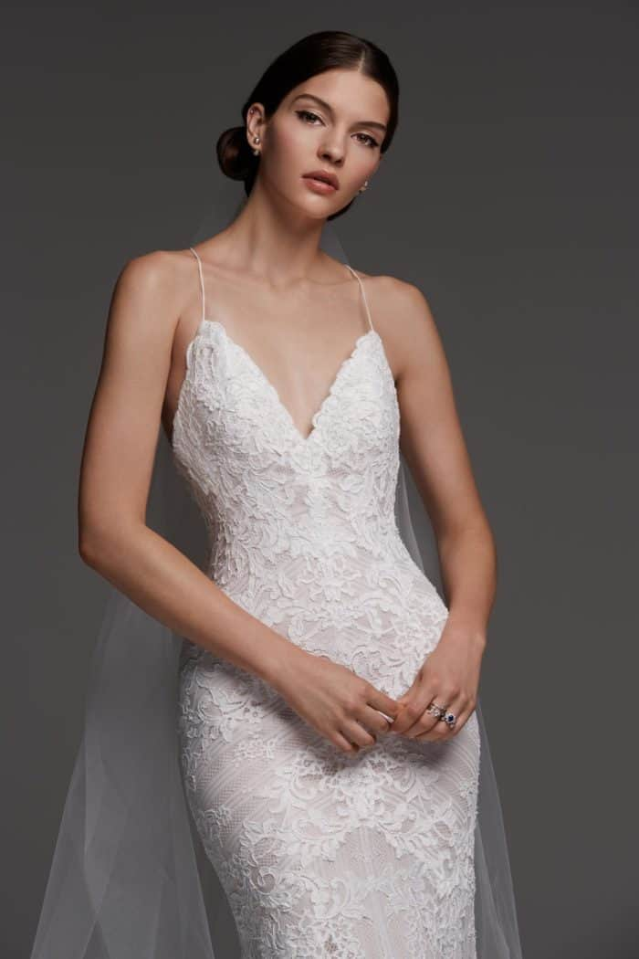 lace spaghetti strap dress Watters Anjou 2018