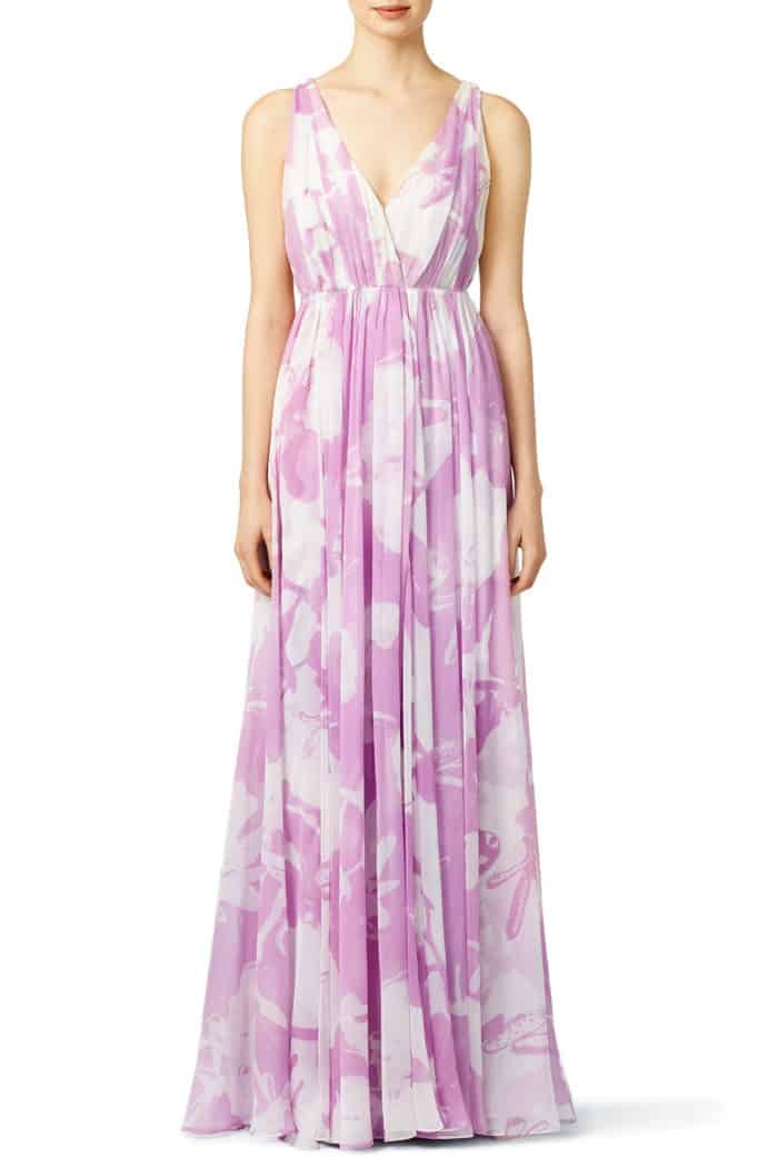 lavender printed maxi dress to rent for wedding