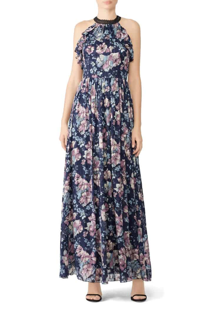 Pretty blue floral long dress guest of wedding you can rent