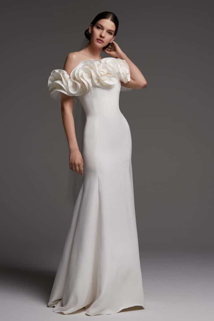 off the shoulder ruffle wedding dress augustus watters