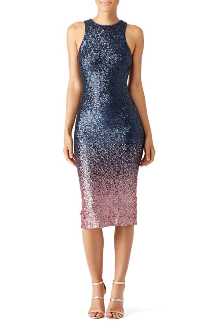 navy blue and pink ombre sequin sheath dress for wedding