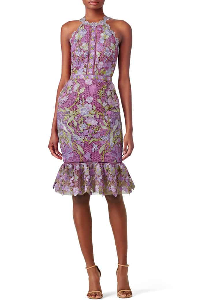 purple floral lace cocktail dress