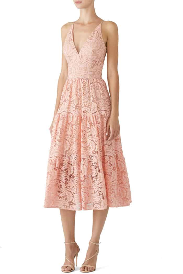 pink lace midi dress rental for wedding guest