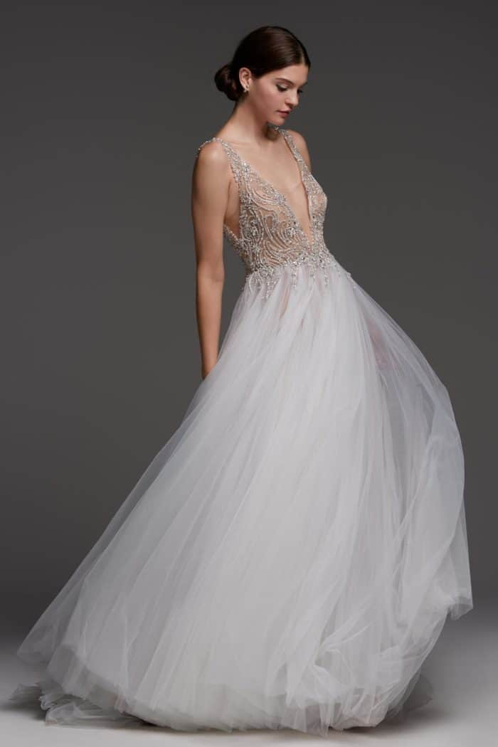 The Stuart wedding dress Watters v neck beaded gown