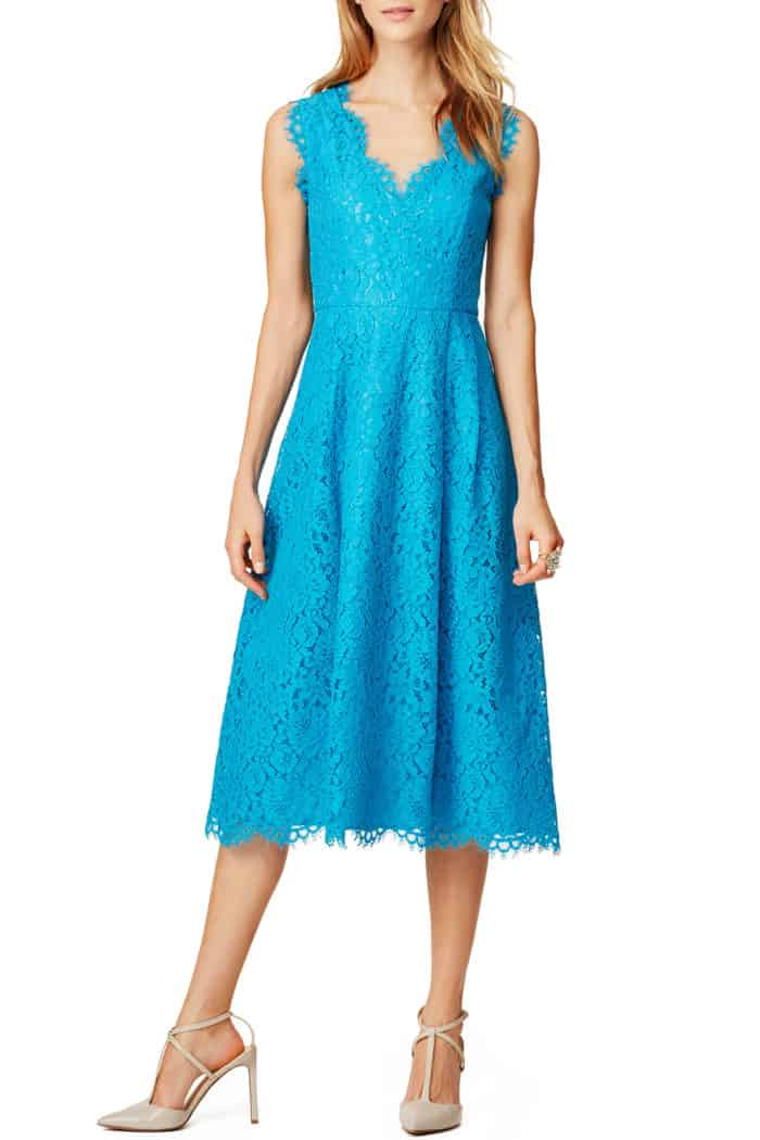turquoise blue lace midi dress