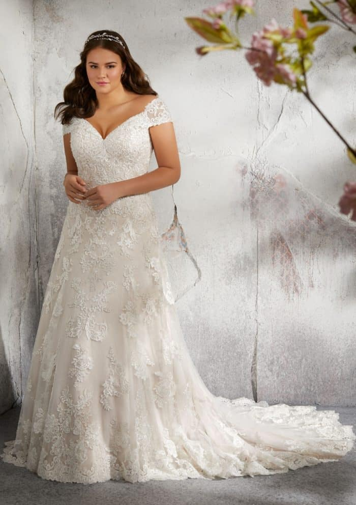 V neck off the shoulder plus size wedding dress