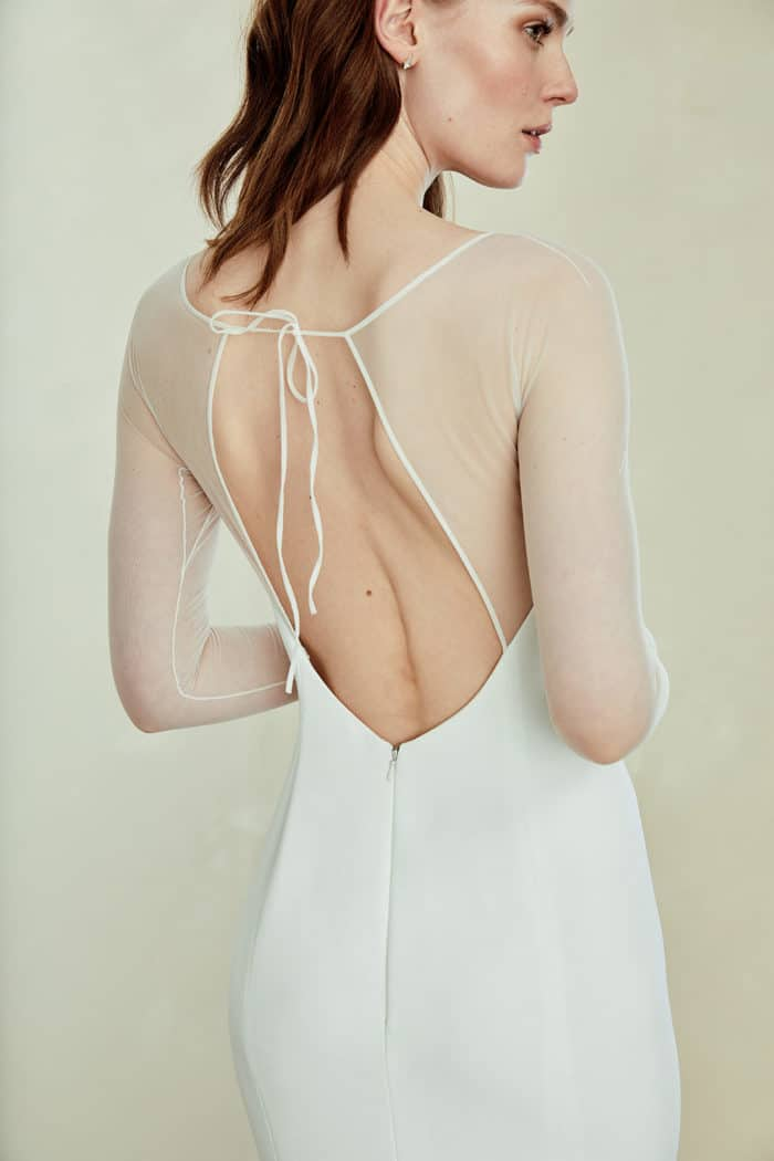 Modern wedding dress with sheer sleeves and open back - Miri gown Amsale Spring 2019