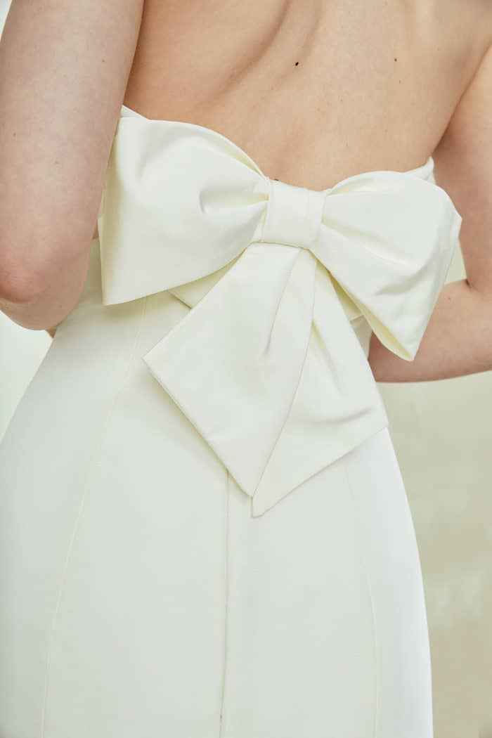 Silk wedding dress with a bow back