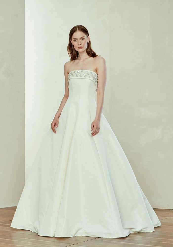 Amy, an beaded ball gown strapless Amsale wedding dress