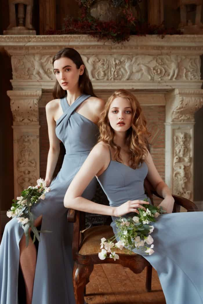 modern dusty blue bridesmaid dresses