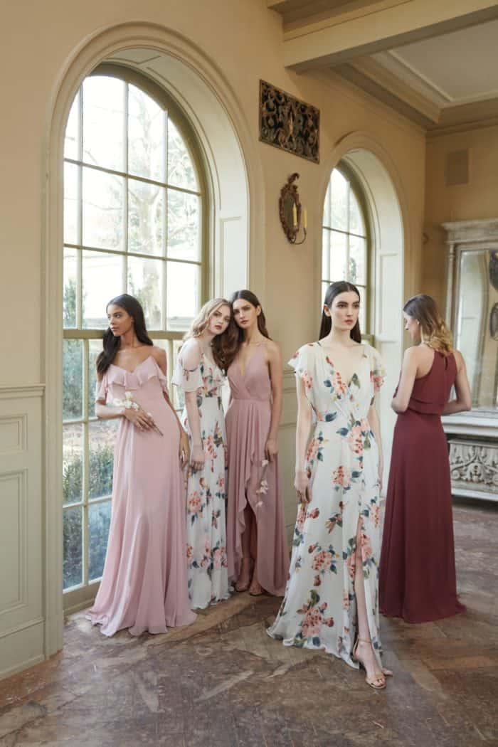 Cinnamon, blush and floral bridesmaid dresses