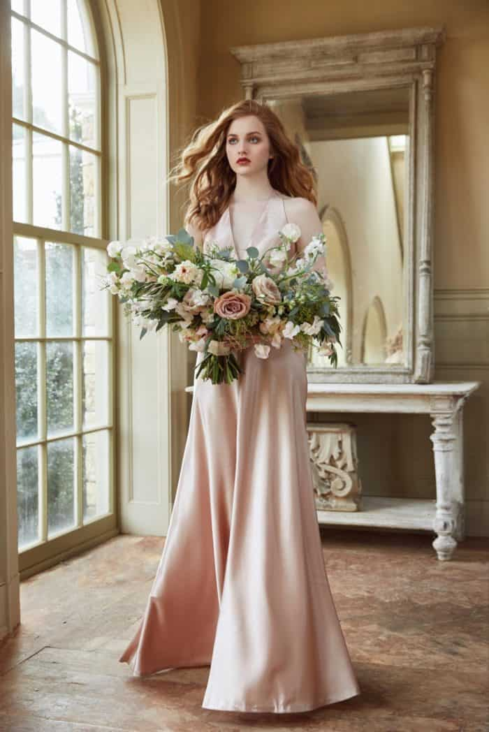 Blush satin crepe bridesmaid dress Jenny Yoo