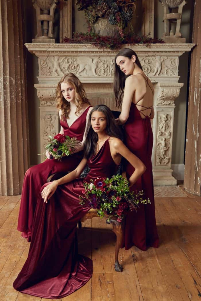 Burgundy crepe and velvet bridesmaid dresses