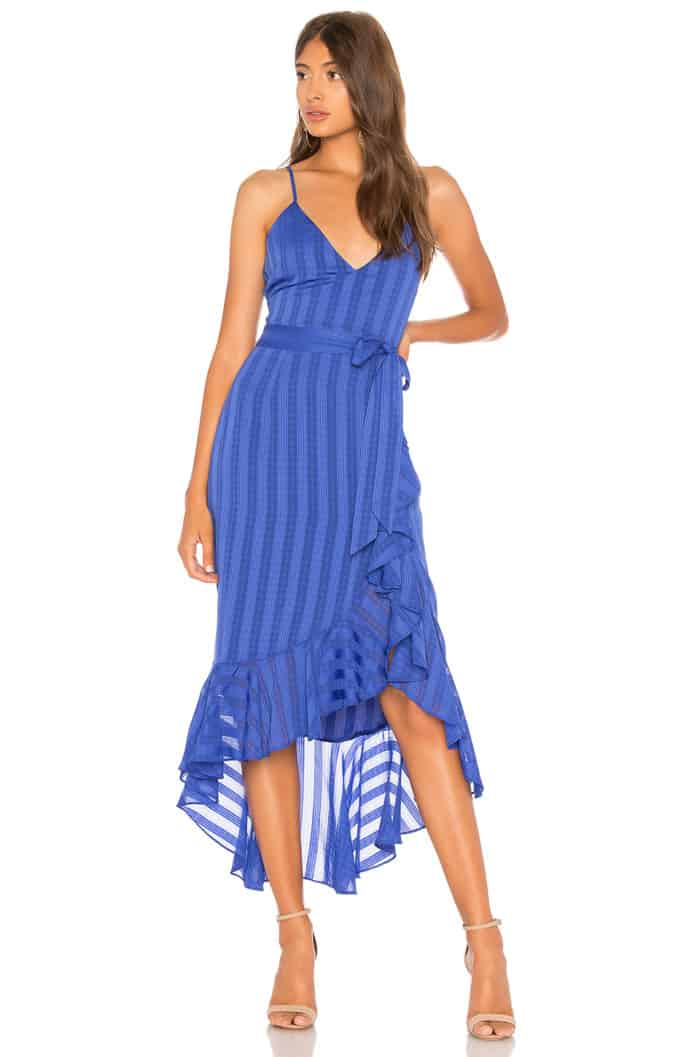 Cobalt blue strappy dress for late summer wedding guest