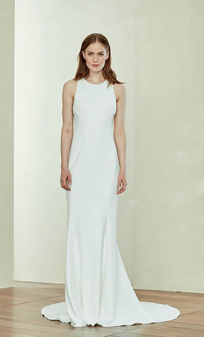 Darla a racerback clean modern wedding gown by Amsale