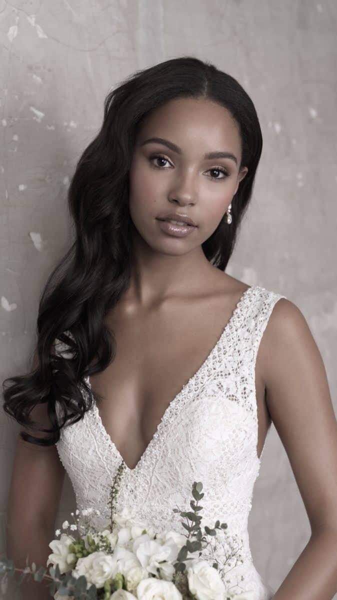 Deep v neckline lace wedding dress fall 2018 Madison James