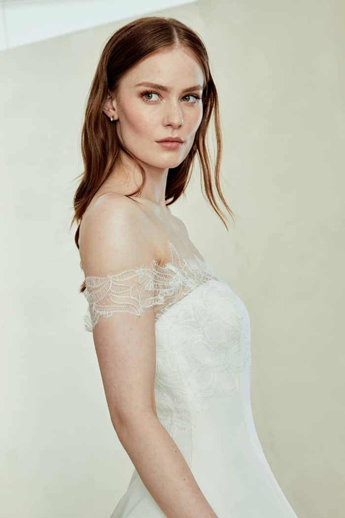 Sutton, a lace off the shoulder ball gown wedding dress by Amsale