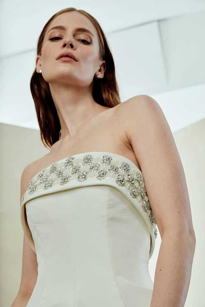 Folded strapless silk wedding dress with embellished neckline | Amy by Amsale Spring 2019