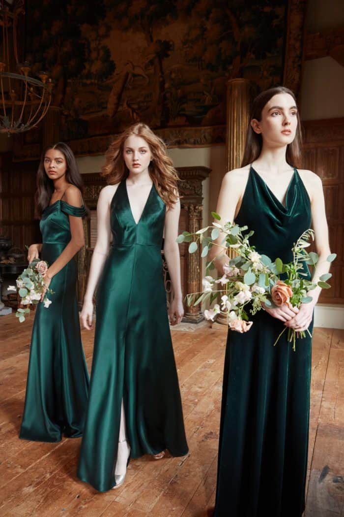 Emerald green satin Jenny Yoo bridesmaid dresses