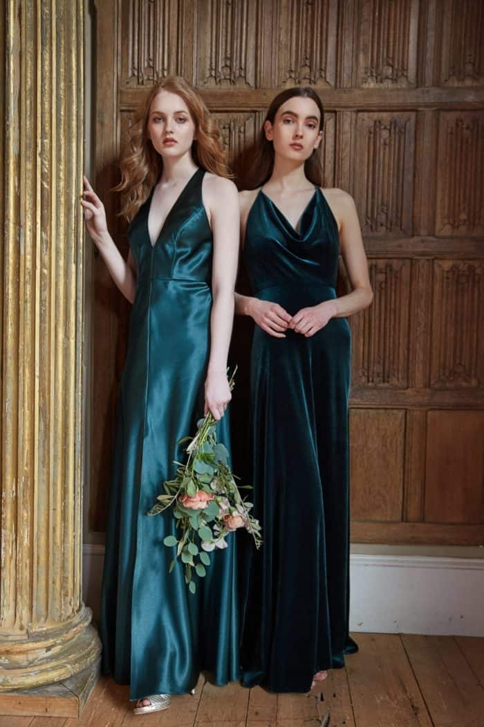 Emerald green satin bridesmaid dresses