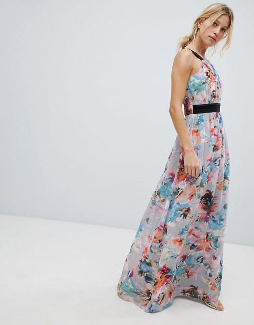 Floral maxi dress to wear to an August wedding