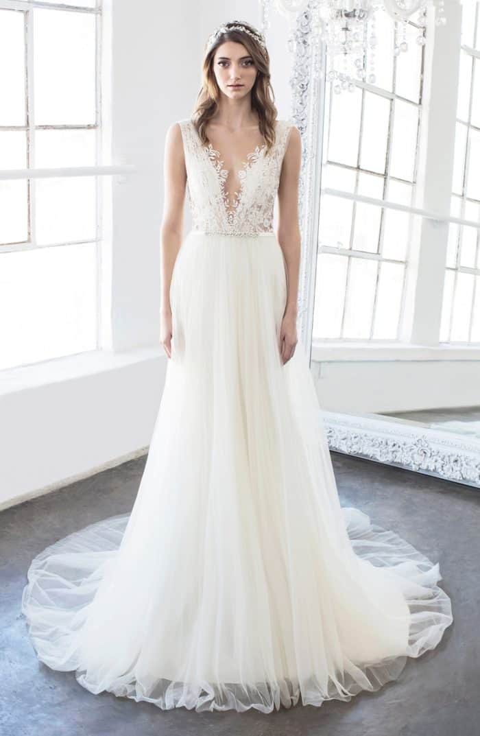 Goddess like plunge neckline wedding dress Hollie by Winnie Couture