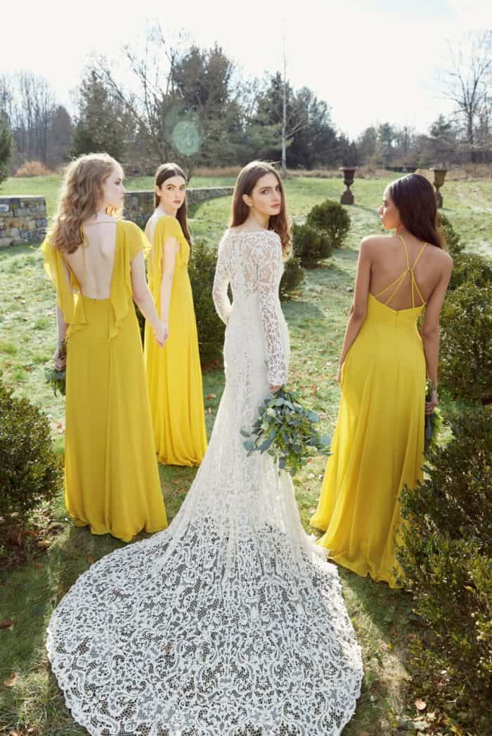 Jenny Yoo Collection wedding dress and bridesmaids