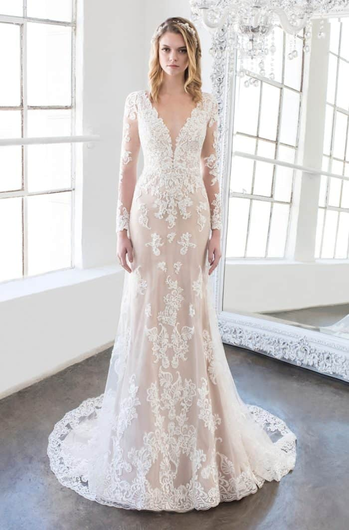 Keaton wedding dress long sleeve lace gown by Winnie Couture 2018
